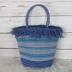 Handbags - Blue Straw Tote Bag